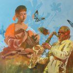 Caravaggio spielt mit Jazz Musiker Gemälde Öl auf Leinwand