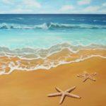 Seestern Meer Wellen Malerei Acryl auf Leinwand