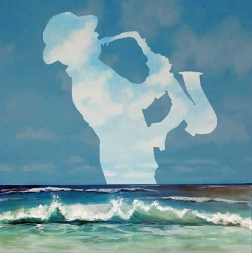 malkurs illussionsmalerei acryl saxophonist im stil von rene magritte
